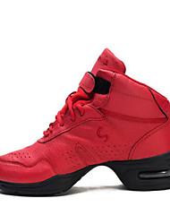 billiga -Dam Hip Hop & Street Dance Shoes Svinläder Sneaker Tjock häl Dansskor Vit / Svart / Röd