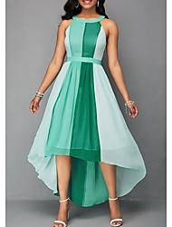 baratos -asymmetrical das mulheres um vestido de linha halter pescoço vermelho azul verde s m l xl