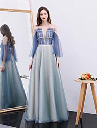 tanie -Krój A Zaokrąglony Sięgająca podłoża Tiul Sukienka z Koraliki / Cekin przez TS Couture®