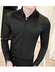 baratos -Homens Camisa Social Sólido Verde XL