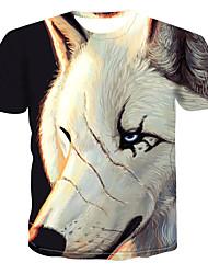 billiga -Tryck, Färgblock / 3D / Djur T-shirt Herr Vit XXXXL