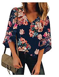 baratos -Mulheres Camiseta Floral Decote V Branco L