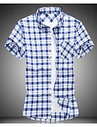 お買い得  -男性用 シャツ 千鳥格子 ブルー XXXXL