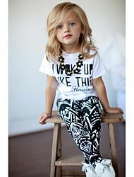 お買い得  -子供 / 幼児 女の子 ベーシック チェック 半袖 レギュラー コットン アンサンブル ホワイト
