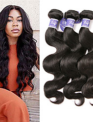 cheap -3 Bundles Indian Hair Wavy Body Wave Unprocessed Human Hair 100% Remy Hair Weave Bundles Headpiece Natural Color Hair Weaves / Hair Bulk Extension 8-28 inch Black Human Hair Weaves Odor Free Extender