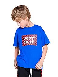 お買い得  -子供 男の子 ストリートファッション プリント プリント 半袖 ポリエステル Tシャツ ブルー