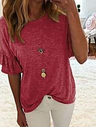 baratos -Mulheres Camiseta Sólido Vermelho XXL