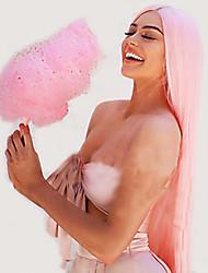 voordelige -Pruik Lace Front Synthetisch Haar Recht Stijl Middelste stuk Kanten Voorkant Pruik Roze Roze Synthetisch haar 20-24 inch(es) Dames Verstelbaar / Hittebestendig / Feest Roze Pruik Lang Natuurlijke