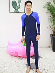 halpa -JIAAO Miesten Skin-tyyppinen märkäpuku Sukelluspuvut Pidä lämpimänä UV-aurinkosuojaus Tuulenkestävä Full Body Etuvetoketju - Uinti Sukellus Maalaus Patchwork Syksy Kevät Kesä / Elastinen
