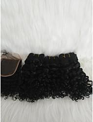 abordables -Cabello para trenzas Rizado Tejido Pelo Natural 4 Piezas Las trenzas de pelo Negro 14 pulgadas Extensión / Juvenil Cita / Calle Cabello Malayo
