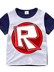 preiswerte -Kinder Jungen Aktiv / Grundlegend Druck Patchwork / Druck Kurzarm Baumwolle / Elasthan T-Shirt Orange