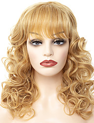 cheap -Synthetic Wig / Bangs Loose Curl Style Middle Part Capless Wig Golden Black / Gold Synthetic Hair 18 inch Women's Fashionable Design / Women / Synthetic Golden Wig Long Natural Wigs