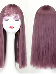 cheap -Synthetic Wig Straight Jenifer Style Middle Part Capless Wig Purple Synthetic Hair 24INCH Women's Adjustable / Heat Resistant / Classic Purple Wig Long Cosplay Wig