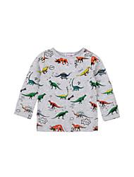 tanie -Dzieci / Brzdąc Dla chłopców Aktywny / Podstawowy Solidne kolory / Nadruk Nadruk Długi rękaw Bawełna / Spandeks T-shirt Szary