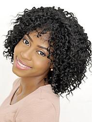 Χαμηλού Κόστους -Συνθετικές Περούκες Σγουρά / Afro Kinky Στυλ Με αφέλειες Χωρίς κάλυμμα Περούκα Μαύρο Μαύρο Συνθετικά μαλλιά 14 inch Γυναικεία συνθετικός / Άνετο / Περούκα αφροαμερικανικό στυλ Μαύρο Περούκα
