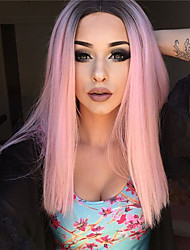 cheap -Synthetic Wig Curly Style Middle Part Capless Wig Pink Pink Synthetic Hair 16 inch Women's Party Pink Wig Long Natural Wigs