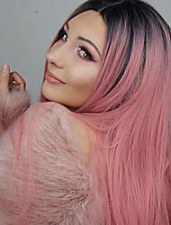 billige -Syntetisk Lace Front Parykker Lige Stil Mellemdel Blonde Front Paryk Pink Sort / Lyserød Syntetisk hår 18-24 inch Dame Justerbar / Varme resistent / Fest Pink / Nuance Paryk Lang Naturlig paryk