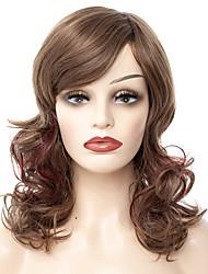 abordables -Pelucas sintéticas / Flequillo Rizado / Ondulado Medio Estilo Parte lateral Sin Tapa Peluca Marrón Marrón / Borgoña Pelo sintético 24 pulgada Mujer Diseños de Moda / Mujer / sintético Marrón Peluca