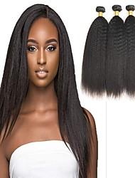 economico -4 pacchi Brasiliano Kinky liscia Capello vergine Ciocche a onde capelli veri Bundle di capelli Un pacchetto di soluzioni 8-28inch Colore Naturale Tessiture capelli umani Cascata Carino Sicurezza
