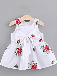 お買い得  -幼児 女の子 甘い / かわいいスタイル 植物 リボン / プリーツ ノースリーブ 膝丈 コットン ドレス ホワイト