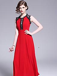 abordables -Femme Maxi Balançoire Robe Rouge M L XL Sans Manches