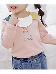hesapli -Bebek Genç Kız Temel Zıt Renkli Uzun Kollu Polyester Bluz Beyaz