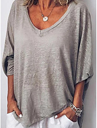 baratos -Mulheres Camiseta Sólido Rosa M