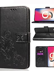 Недорогие -Кейс для Назначение Apple iPhone XS / iPhone XR / iPhone XS Max Бумажник для карт / со стендом / Магнитный Чехол Цветы Твердый Кожа PU