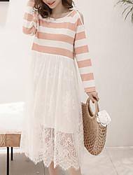 رخيصةأون -المرأة ميدي اللباس خط احمرار اللون الوردي م ل xl XXL