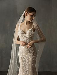 Недорогие -Один слой Элегантный и роскошный Свадебные вуали Фата для венчания с Искусственный жемчуг Тюль