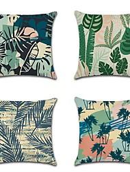 cheap -4 pcs Cotton / Linen Pillow Cover, Leaf Coastal Rustic Pastoral Throw Pillow