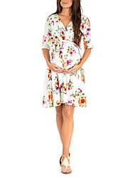 halpa -Naisten Perus Swing Mekko - Kukka, Painettu Reisipituinen