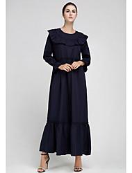 お買い得  -女性のマキシアバヤドレスブラックネイビーブルーm l xl