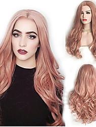 Χαμηλού Κόστους -Συνθετικές Περούκες Σγουρά Στυλ Μέσο μέρος Χωρίς κάλυμμα Περούκα Ροζ Ροζ Συνθετικά μαλλιά 22 inch Γυναικεία Πάρτι Ροζ Περούκα Μακρύ Φυσική περούκα