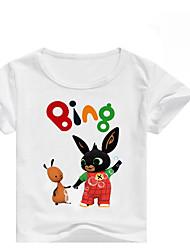 abordables -Enfants Fille Basique Imprimé Manches Courtes Coton / Spandex Tee-shirts Blanc