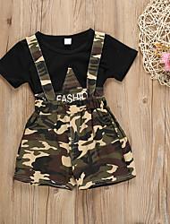 hesapli -Bebek Genç Kız Temel Desen Desen Kısa Kollu Normal Normal Pamuklu / Polyester Kıyafet Seti Siyah