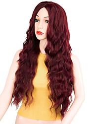 billige -Syntetiske parykker Krøllet Stil Mellemdel Lågløs Paryk Rød Mørkerød Syntetisk hår 22 inch Dame Fest Rød Paryk Lang Naturlig paryk