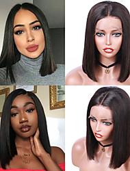 voordelige -Human Hair Capless Pruiken Echt haar Recht Bobkapsel Stijl Feest / Dames / Beste kwaliteit Kort Kanten Voorkant Pruik Braziliaans haar Dames