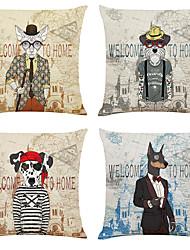 저렴한 -4 개의 동물 초상화 리넨 광장의 세트 장식 던져 베개 커버 소파 쿠션 커버 18x18