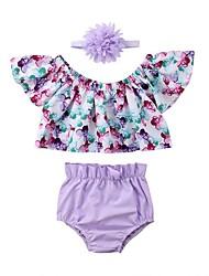 hesapli -Bebek Genç Kız Temel Desen Desen Kısa Kollu Kısa Pamuklu / Polyester Kıyafet Seti Açık Mavi