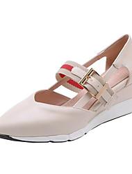 povoljno -Žene Brušena koža / PU Proljeće ljeto Cipele na petu Wedge Heel Krakova Toe Crn / Bež