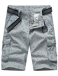 4e253f1e825 Herre Sporty Chinos / Shorts Bukser - Trykt mønster Bomuld Grå Army Grøn  Kakifarvet 34 36 38