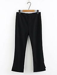 billige -Dame Grunnleggende Store størrelser Tynn Dressbukser Bukser - Ensfarget Svart XXL XXXL XXXXL