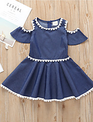 tanie -Dzieci / Brzdąc Dla dziewczynek Aktywny / Podstawowy Solidne kolory Do kolan Bawełna Sukienka Niebieski