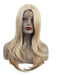 halpa -Synteettiset peruukit / Ombre Kihara / Bouncy Curl Tyyli Sivuosa Suojuksettomat Peruukki Vaaleahiuksisuus Vaalea kulta Synteettiset hiukset 24 inch Naisten synteettinen / Sexy Lady