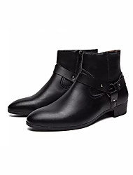 baratos -Homens Sapatos Confortáveis Couro Ecológico Primavera Vintage Botas Respirável Preto