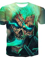billiga -Tryck, Färgblock / 3D / Dödskalle T-shirt Herr Grön XXXXL