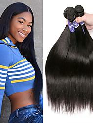 Недорогие -3 Связки Индийские волосы Прямой 100% Remy Hair Weave Bundles Головные уборы Человека ткет Волосы Пучок волос 8-28 дюймовый Естественный цвет Ткет человеческих волос Без запаха Шерсть Натуральный