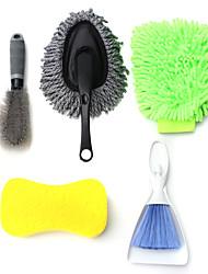 Недорогие -5шт интерьер автомобиля внешняя шайба чистка автомобиля набор инструментов очиститель щетка губка перчатки