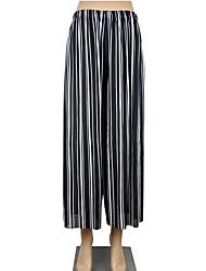 baratos -Mulheres Básico Perna larga Calças - Listrado / Multi-Côr Vermelho